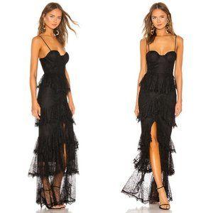 Majorelle Zelda Fitz Gown Lace Black Ruffle Dress